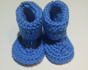 Brown Button Baby Booties 12 months