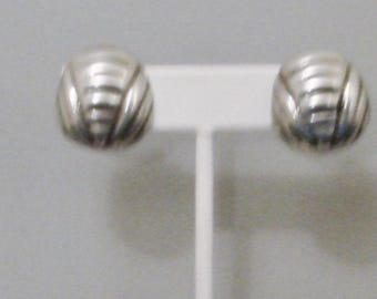 Vintage Sterling Silver Clip Earrings Mexico TC 55 EUC