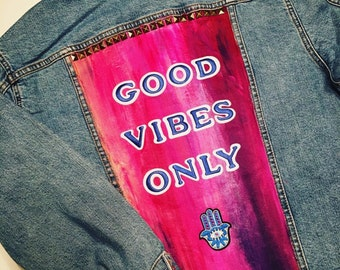 Painted Jean Jacket- Good Vibes Only
