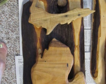 """Cedar Michigan's lower and Upper peninsula, 8""""X15"""" hand carved wall hanging."""