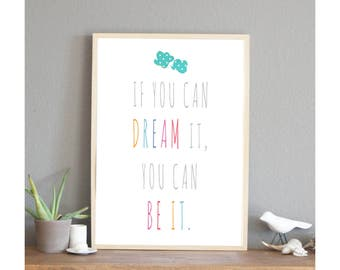 20% OFF If You Can Dream It Inspirational Wall Art Print 11x14