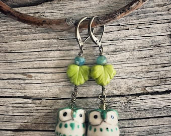 Green and Turquoise Owl Earrings