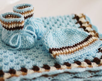 Crochet Baby Blanket / Afghan Booties and Hat Granny Square Blue Brown Ecru /Ivory Baby Shower Gift Baby Boy Baby Girl