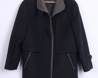 C&A Womens 12 S Coat Black Wool Single Breasted Vintage