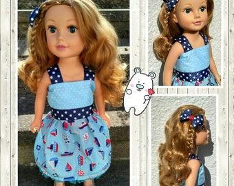 "Handmade doll clothes ~ Summer doll dress ~ Nautical dress ~ 18"" doll clothes ~ Our Generation summer dress ~ American Girl dress ~ UK"