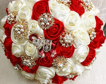 10'' Red and Cream Brooch Bouquet