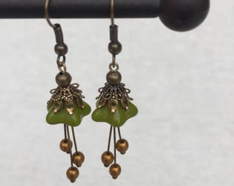 Czech glass fairy flower earrings - antique brass - olive green and gold - 40x13mm