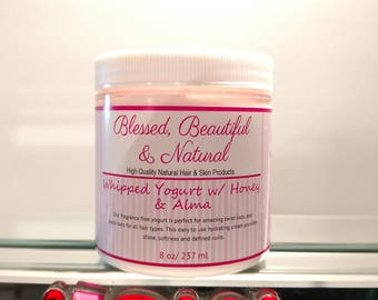 Natural Hair Cream. Moisturizer/ Whipped Yogurt w/Honey & Alma/ Hydrating/ Defined Curls