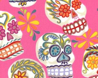 Alexander Henry Gothic Calaveras Sugar Skulls on Pink 100% Cotton Fabric - FQ