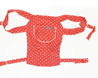 Doll carry/doll backpack dots Red