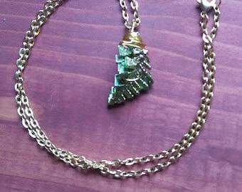Bismuth Crystal Necklace - Bismuth Jewelry - Wire Wrapped Green Bismuth Crystal Necklace - Green Leaf Bismuth Necklace