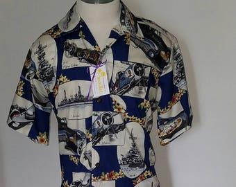 Navy WW2 Battleship and Warplanes Aloha Style Shirt