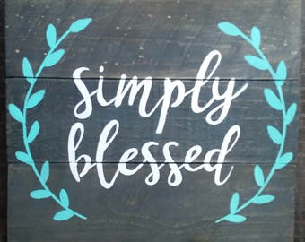 Wood sign, Simply Blessed
