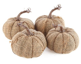 Group of 4 Rustic Burlap Fabric Pumpkins for Fall, Halloween, Autumn and Thanksgiving Decorating