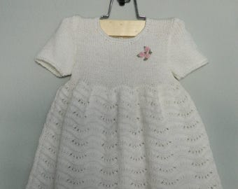 Lovable Knitted White Baby Dress