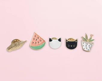 Get 10% OFF - Enamel Brooch Pin Set (Feather Brooch Pin, Watermelon Brooch Pin, Cat Brooch Pin, Plant Flower Brooch pin)