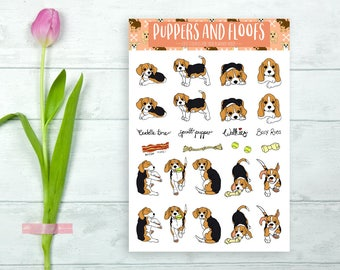 Beagle Hound Terrier Puppy Stickers 18pk