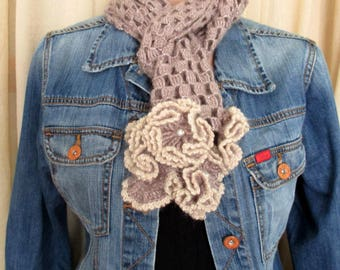 Brown crochet flower scarf, Crochet flower scarf, Brown scarf, Flower scarf, Crochet scarf, Crochet flower, Hand crochet scarf, Lariat scarf