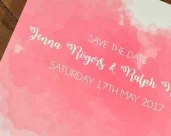 Watercolour Printed Save the Date