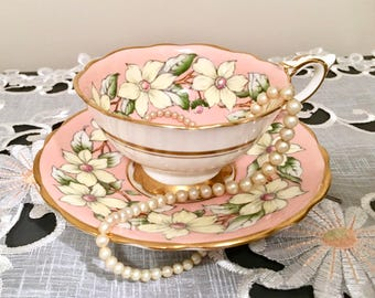 Vintage Royal Stafford English Tea Set, Teacup and Saucer, Royal Stafford, Dog-wood, Pink and Gold