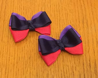 Set of adorable hair bows in navy, periwinkle, and sarsaparilla