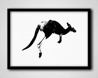 Kangaroo Print, Minimalist Safari Animal Wall Decor, Black and White Nursery Art Print, Large Kangaroo Print, Printable Kids Room Wall Decor