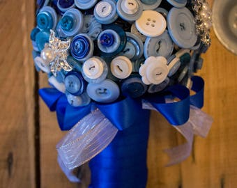 Blue and white button and brooch wedding bouquet