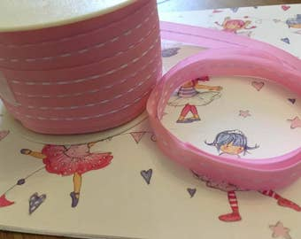 Stitched ribbon, baby pink, 10mm wide, by 5m length