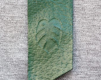 Monstera Leather Bookmark - Green