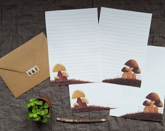 Illustrated stationery (set of 4) + envelopes kraft - Collectionnez the mushrooms.
