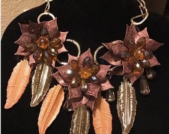 Brown and Gold Flower Necklace