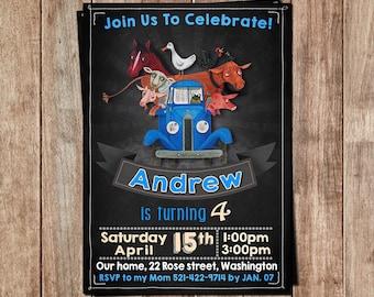 Little Blue Truck Invitation - Little Blue Truck Birthday - Little Blue Truck Party- Blue Truck Card Printables- Blue Truck Printable Invite