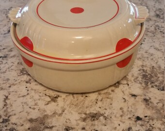 RARE Vintage Hall Pottery Casserole / Serving Dish with Lid.  White with Red Dots