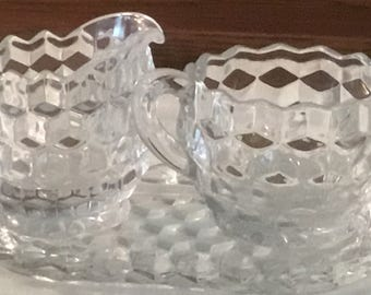 Vintage Creamer Sugar Set with Tray, Clear Glass,Retro 3 Piece Set