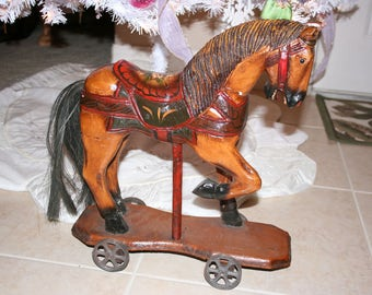 Carved Collectible Wooden Horse on Wheels Figurine