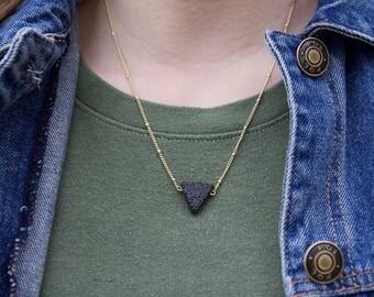 Triangle Lava Bead Essential Oil Diffuser Necklace // Essential Oil Accessories