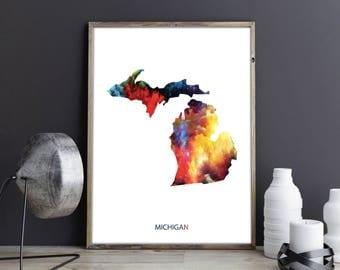 Michigan Art Michigan Wall Art Michigan Decor Michigan Photo Michigan Print Michigan Poster Michigan State Map United States Map Watercolor
