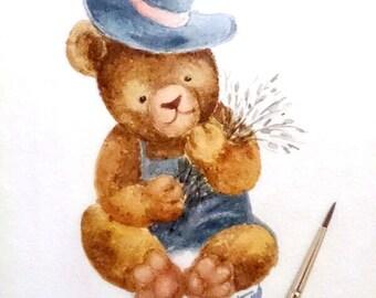 Little bear, original watercolor, Original Painting, watercolor painting, painting for baby, taddy, gift