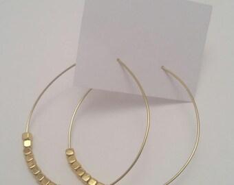 Gold Square Bead Hoop Earrings