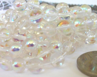 6mm Beads AB Crystal Czech Glass Round Pressed Druks Bead Stringing Beaded Jewelry Supplies / 6mm AB Crystal Druk Beads 50