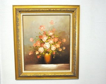 Vintage Original Robert Cox Oil Painting, Extra Large Floral Painting Framed / SALE