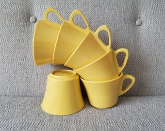Melamine Melamac Mustard Yellow Coffee Cups and Sugar