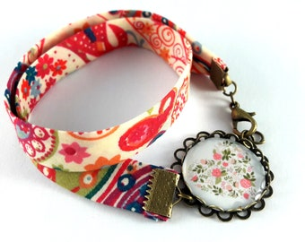 Bracelet double heart flower pattern liberty