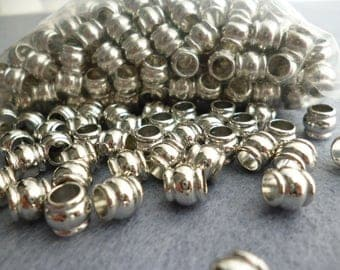 Silver Tone Large Hole Metal Beads /Large Bag 500 pcs of 7x6 mm hole 4 mm