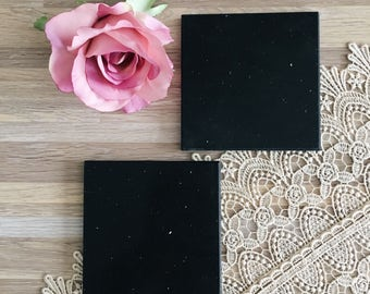 Sparkling Black Stone Tile Coasters Set of 2