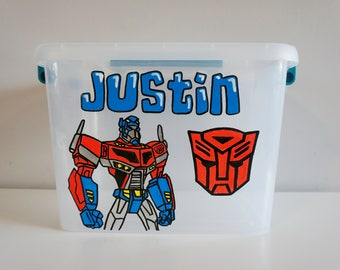 Transformers personalized storage tote, Transformers gift, personalized birthday gift, storage bin with name, optimus prime, custom storage