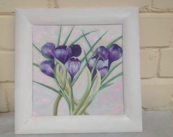 Flowers, spring flowers, oil painting, Crocuses