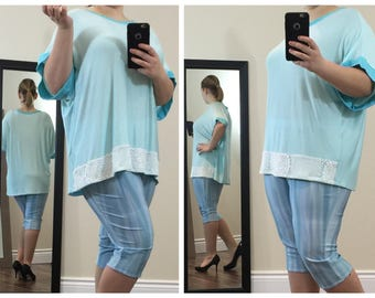 Cute Casual Baby Blue Top with Lace Bottom and Blue Neck and Sleeve Linings