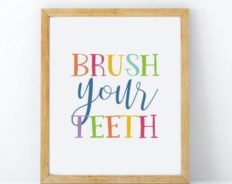 Bathroom Signs Brush Your Teeth brush your teeth | etsy