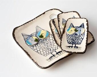Owl Platter Set
